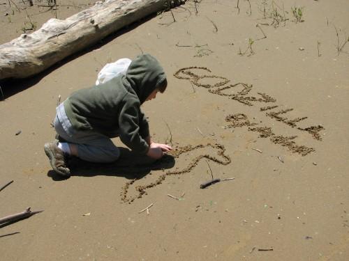 Adam, sand drawing, 5/09