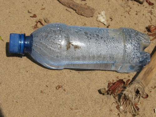 blue plastic bottle