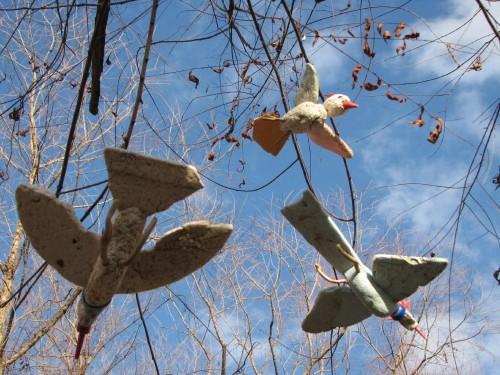 Three Flying Styro-birds