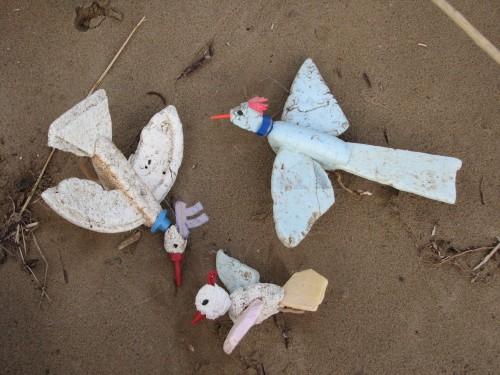 Styro-birds on the sand