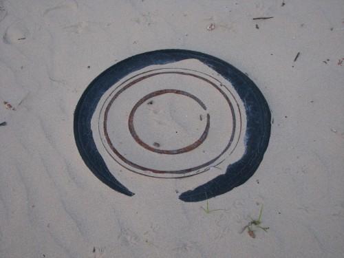 Sunken tire in the sand
