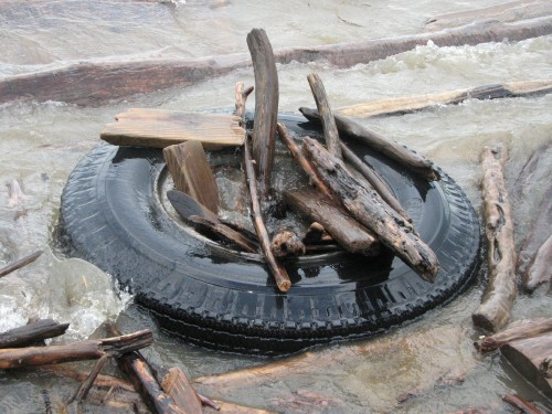floating tire and sticks, 6/09