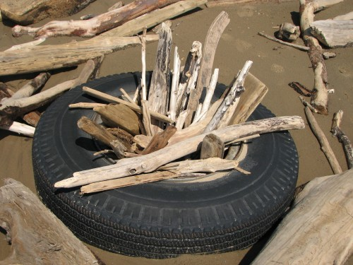 dry tire with sticks, 7/09