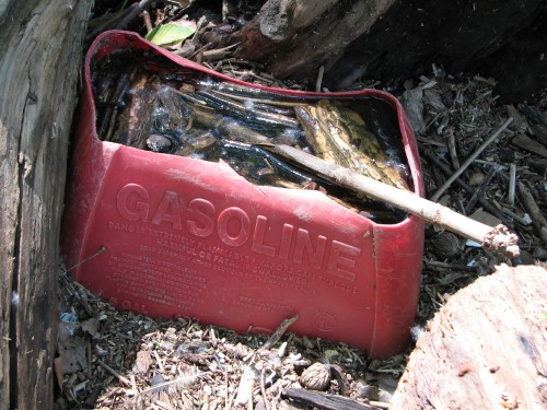 damaged gasoline container