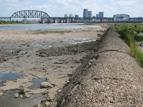 Louisville skyline from dike at the Falls of the Ohio, 8/09