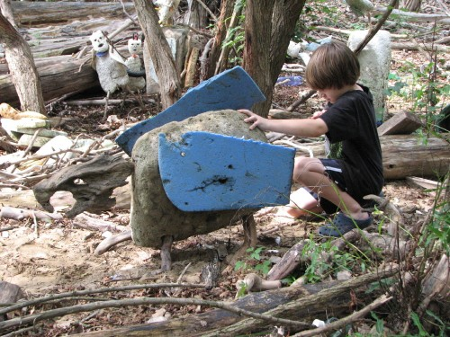 Adam working on his dragon, 9/09