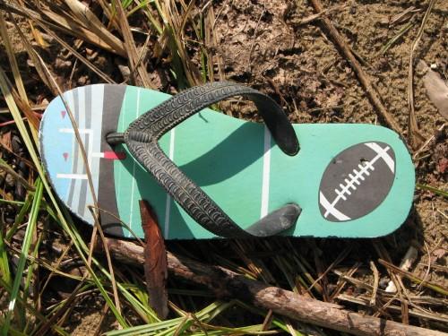 football themed flip flop