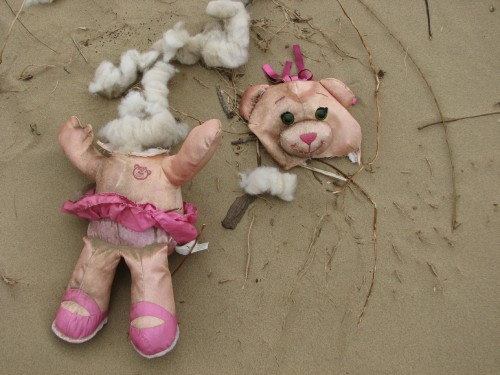 destroyed pink teddy bear, 3/09