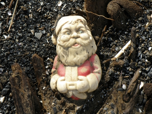 partially buried plastic Santa Claus, Jan. 2013