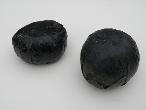 two balls made from electrical tape