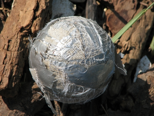 Duct tape ball in situ at the Falls of the Ohio