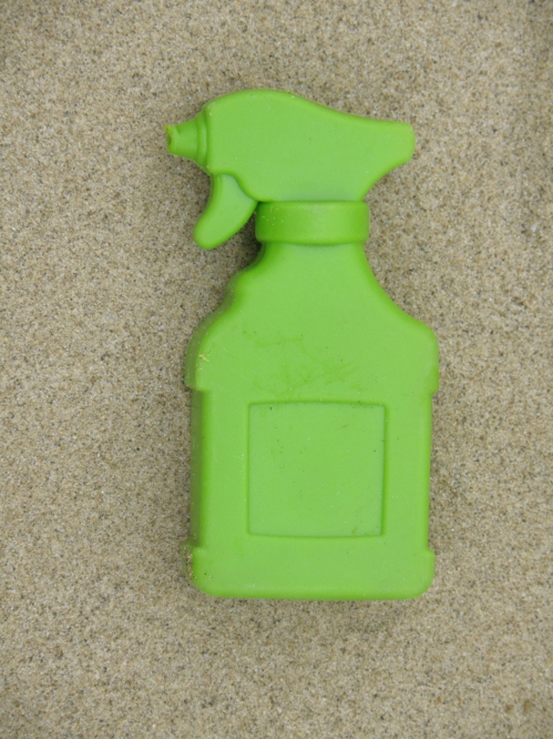miniature green plastic spray bottle, March 2013