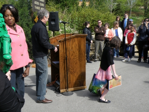 Young lady accepts her prize from the Mayor, April 20, 2013