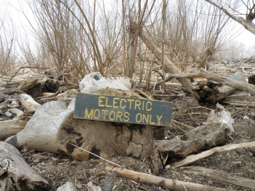 Electric Motors Only sign at the Falls, April 2013