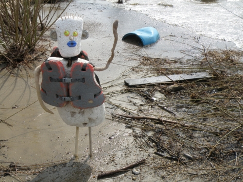 Blue-lipped figure with life preserver on, April 2013