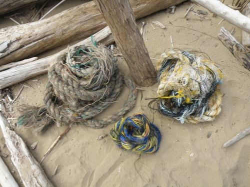three coils of frayed barge cable, April 2013