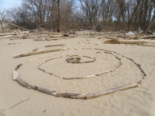 large, anonymous driftwood spiral, April 2013