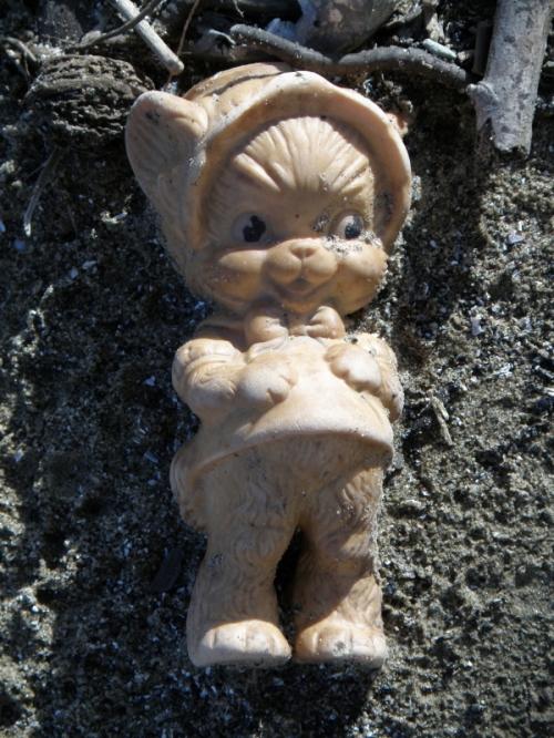 old plastic dressed kitten toy, April 2013