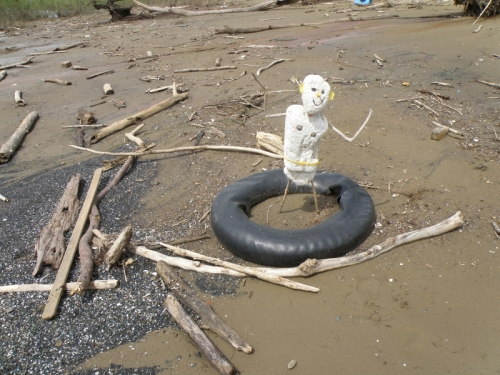 Polystyrene Person dancing in inner tube, May 2013