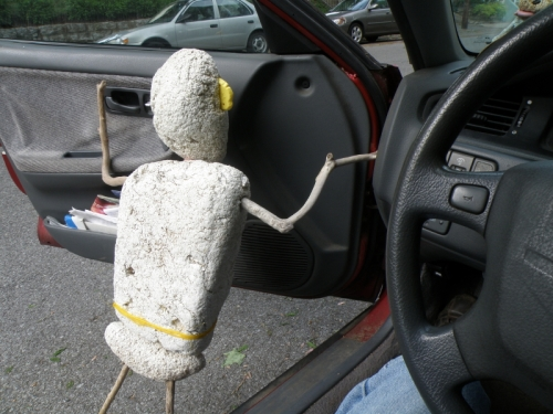 The Polystyrene Person opening my car door, May 2013