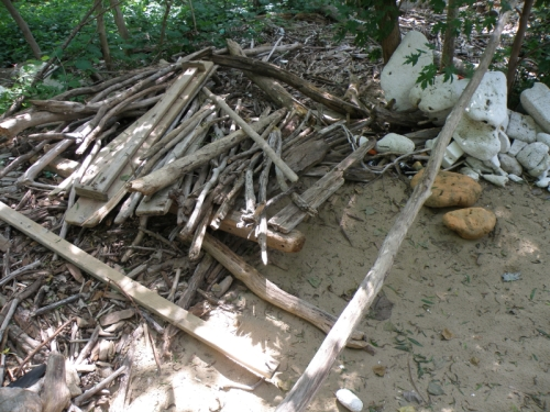 destroyed driftwood structure, July 2013