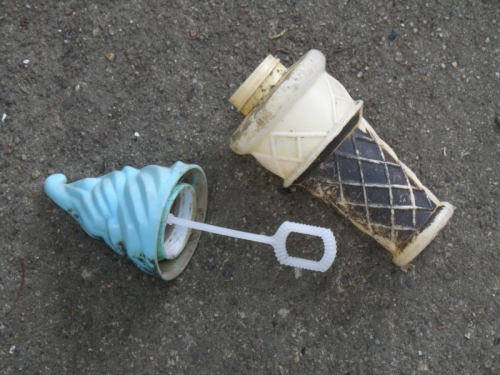 Plastic Ice Cream Cone Soap Bubble wand and bottle, Falls of the Ohio, Sept. 2013