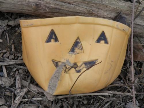 smashed plastic jack-o-lantern container, Oct. 2013