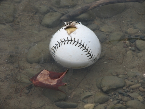 softball in the river