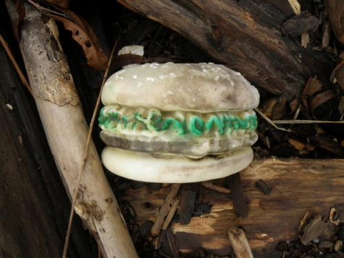 Plastic hamburger #8 as found, Dec. 2013
