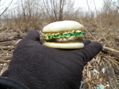 found plastic hamburger, #8, Falls of the Ohio, Dec. 2013