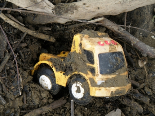 muddy toy truck from the Falls of the Ohio