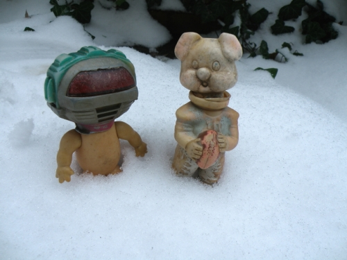 RoboBoy and Pigskin Pete in snow at the Park of Misfit Toys, Dec. 2013