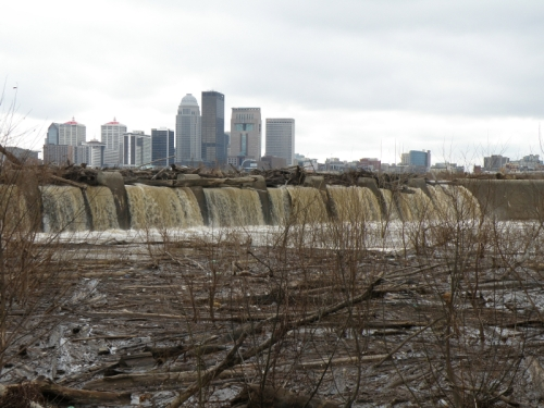 Louisville as seen from the Falls of the Ohio, Jan. 2014