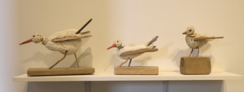 Three Styro-birds on a shelf, Jan. 2014