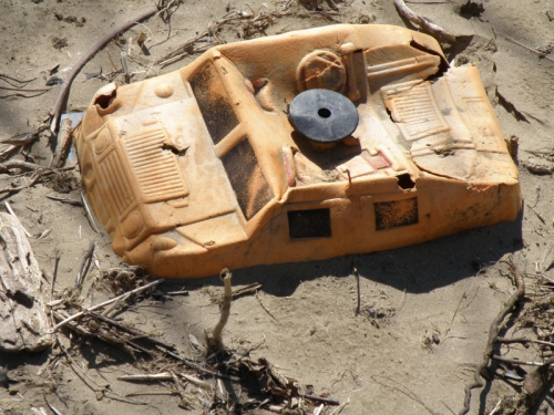 toy truck half buried in sand, Falls of the Ohio, May 2014