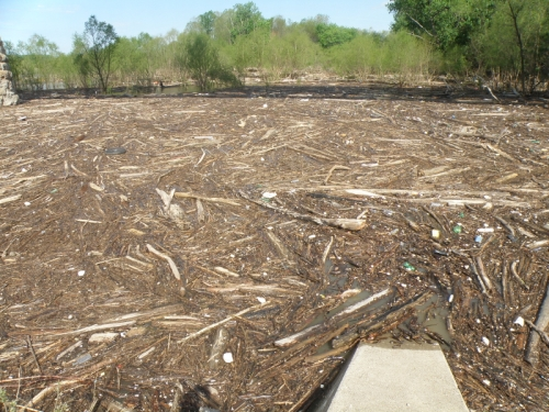 wood and debris in the Ohio River, May 3, 2014