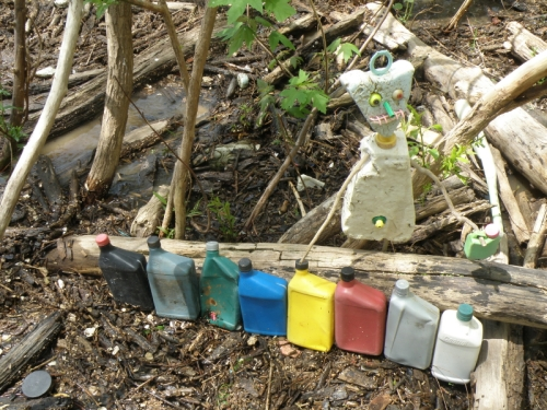 Styro-figure with plastic oil container color spectrum, Falls of the Ohio, May 3, 2014