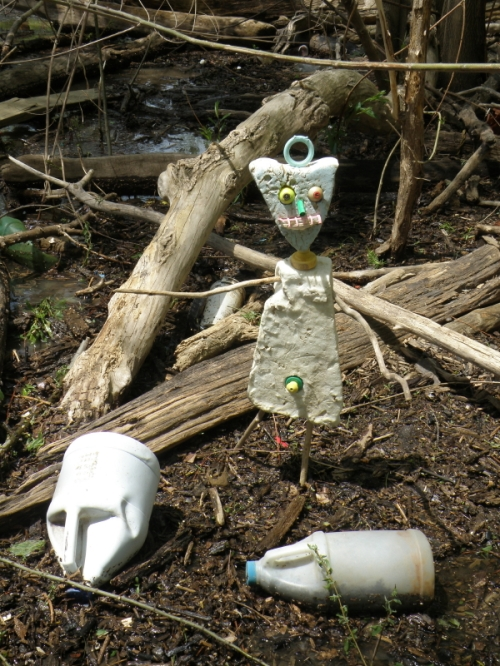 Styro-figure with white plastic bleach bottles, Falls of the Ohio, May 3, 2014