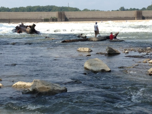 people fishing at the Falls of the Ohio, Aug. 2014