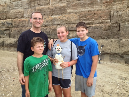 The artist posed with his new family, Falls of the Ohio, Aug. 2014