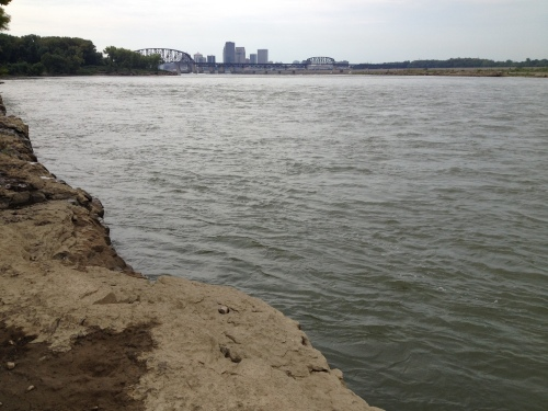 Distant view of Louisville skyline as seen from Falls of the Ohio, Sept. 2014