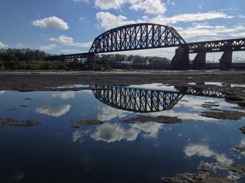 The railroad bridge looking back to the Indiana side.  Sept. 2014