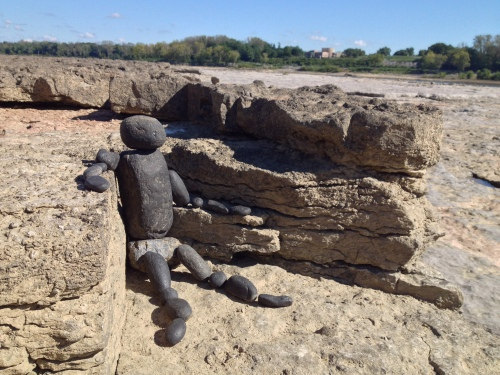 Seated Coal Man on Fossil Beds, Falls of the Ohio, Sept. 2014