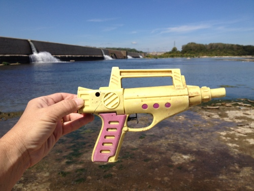 plastic squirt gun, Falls of the Ohio, Oct. 2014