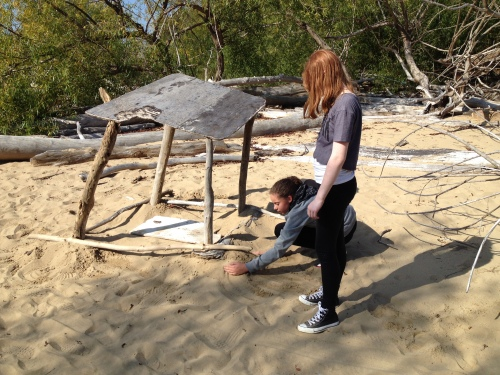 Girls making a driftwood shelter, Falls of the Ohio, Oct. 2014
