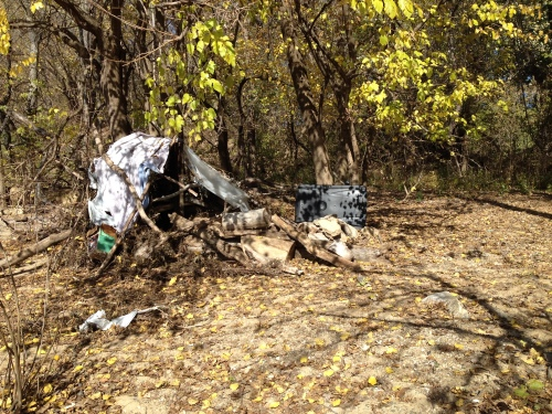 Improvised shelter at the Falls of the Ohio, Nov. 2014