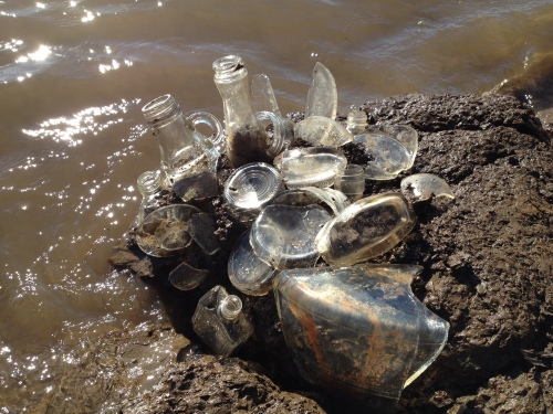 clear bottle glass assemblage, Falls of the Ohio, Nov. 2014
