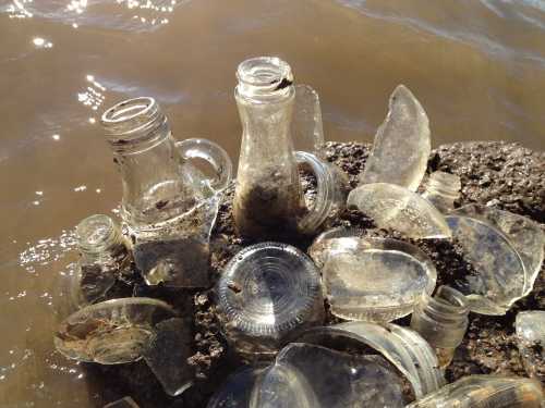 detail, clear bottle glass assemblage, Falls of the Ohio, Nov. 2014