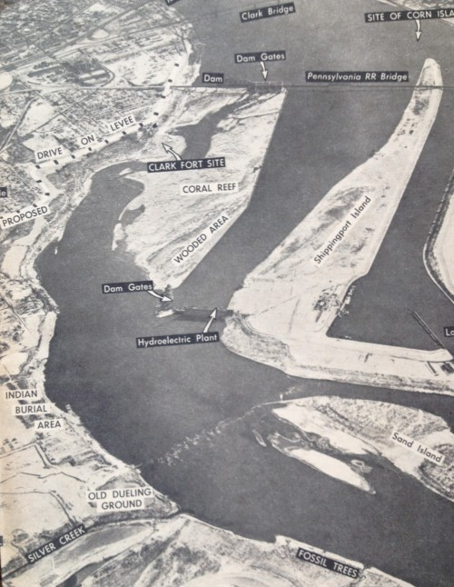 Aerial view of the Falls of the Ohio, Courier-Journal magazine article 1966