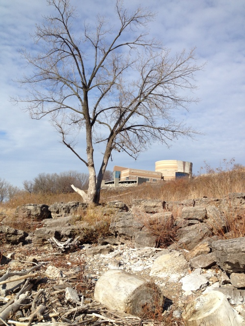 The Interpretive Center as seen from the riverbank, Falls of the Ohio, Nov. 2014